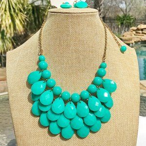 Boho Necklace Tiered Teardrop Teal Statement NWT